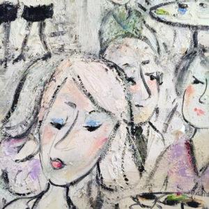 Konst till salu- Café är motiv jag ofta skildrar i mina naivistiska målningar med oljefärg.