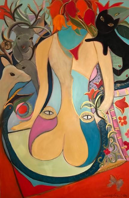 Konstgalleri. Abstrakt konst-surrealistisk konst- stor oljemålning- kvinnokropp-katter