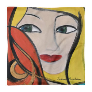 Kuddfodral – Blond hair lady 45×45 cm