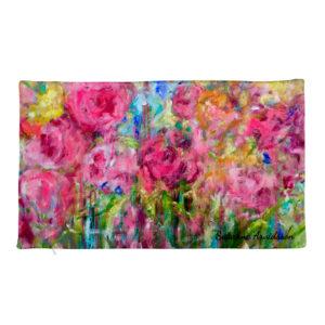 Kuddfodral i linnekänsla – Pink Flower