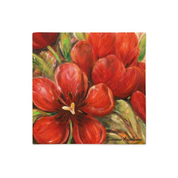 Kuddfodral – Red Tulips 3. linnestruktur 45x45 cm