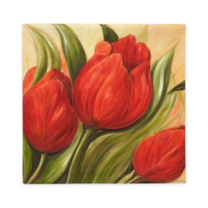 Kuddfodral – Red Tulips 1. – svart baksida – 45×45 cm / 56×56 cm-