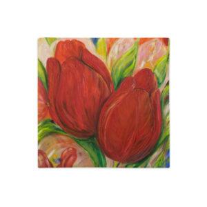 Kuddfodral – Red Tulips 2. linnestruktur – 45×45 cm (innerkudde 50×50 cm)
