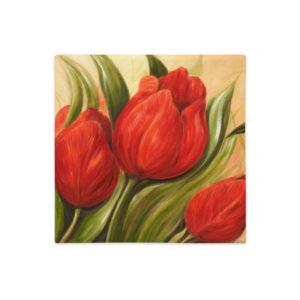 Kuddfodral red Tulips 1. – linnestruktur- vit baksida- 45×45 cm