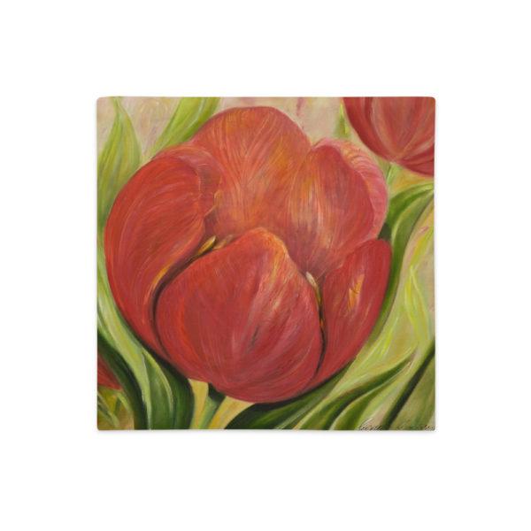 Kuddfodral - Red Tulips 4. linnestruktur 45x45 cm