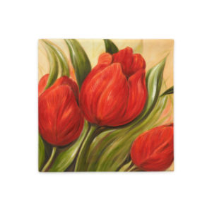 Kuddfodral – Red Tulips 1. vit baksida 45x45cm