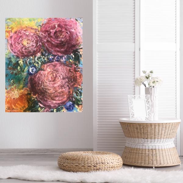 Konst till salu - Pink flowers