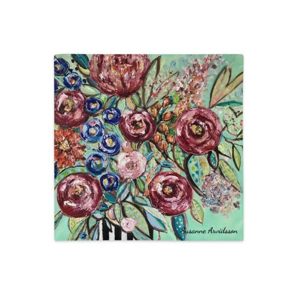 Kuddfodral linnestruktur - Blommor i vas