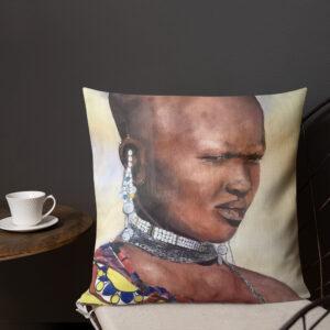 Kuddfodral linnestruktur – Massaiwoman 45×45 cm