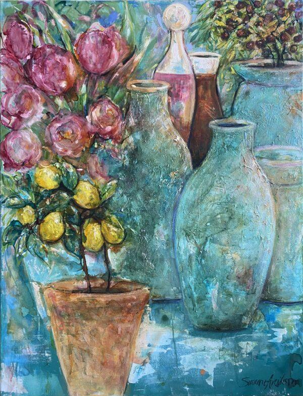 Stor färgstark tavla - Provence
