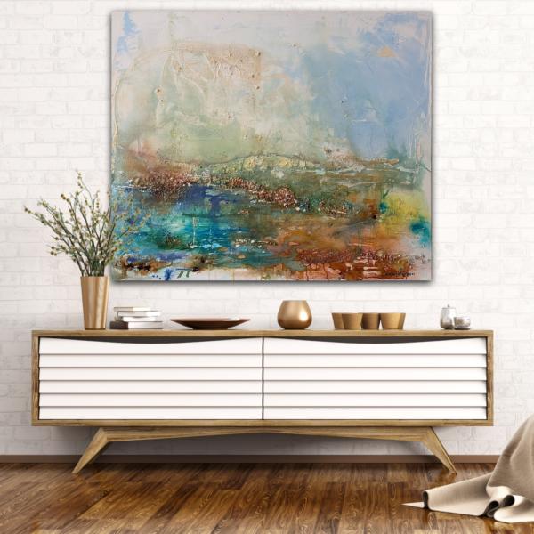 Stor abstrakt tavla i milda färger